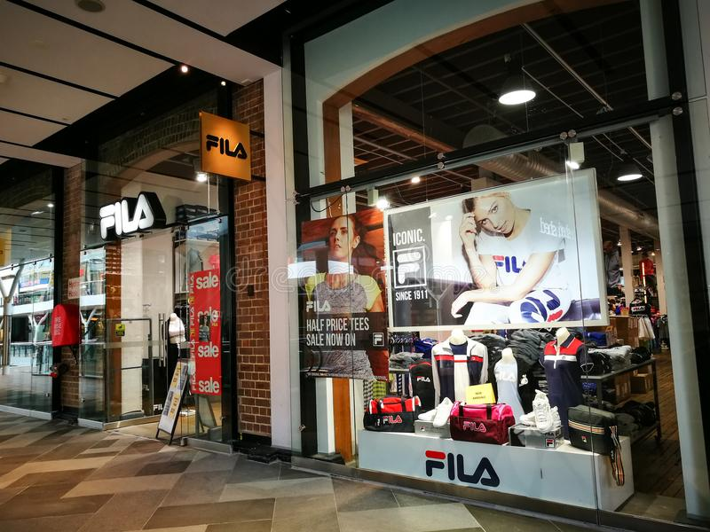 FILA Sportswear, Tennis Apparel, Shoes & Accessories retail store at Birkenhead point shopping center. SYDNEY, AUSTRALIA. - On September 28, 2017. - FILA stock photos