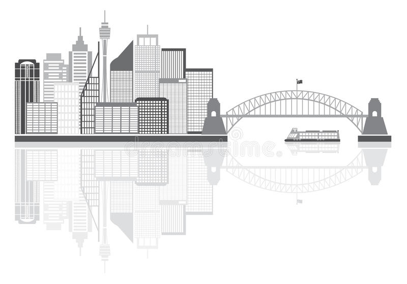 Sydney Australia Skyline Grayscale Vector illustration royaltyfri illustrationer