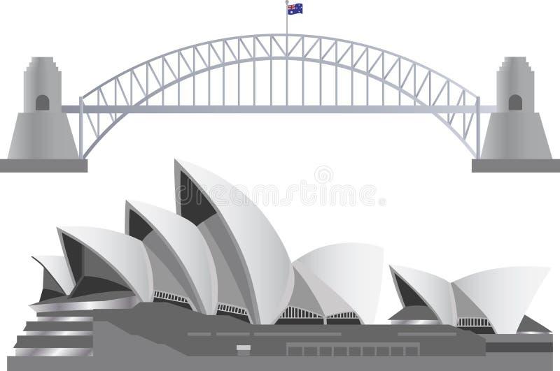 Sydney Australia Skyline Landmarks royalty free illustration
