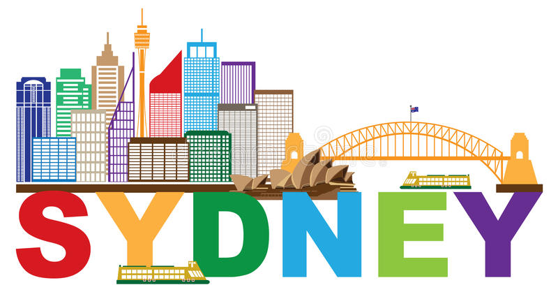 Sydney Australia Skyline Text Colorful Abstract vector Illustration. Sydney Australia Skyline Landmarks Harbour Bridge Colorful Abstract Isolated on White royalty free illustration