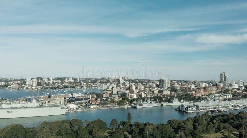 Sydney, Australia Vista aérea del puerto de la ciudad con los edificios fotografía de archivo