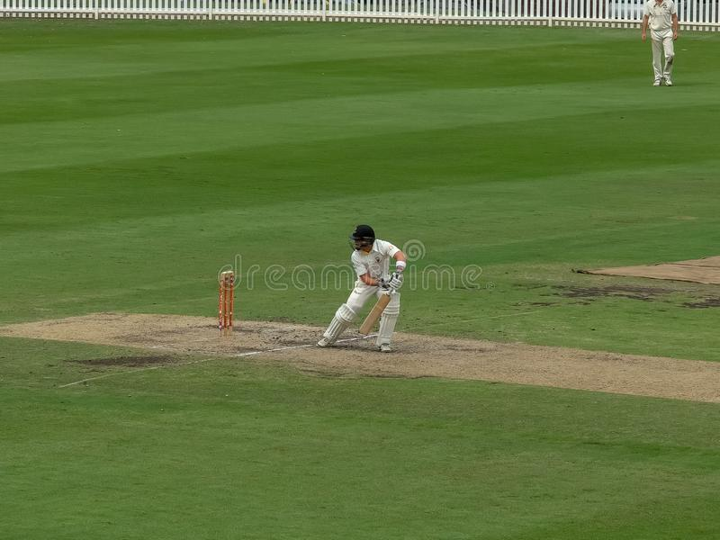 SYDNEY, AUSTRALIE - 31 JANVIER 2016 : un batteur de cricket joue un tir défensif dans un match de classe à Sydney photo stock