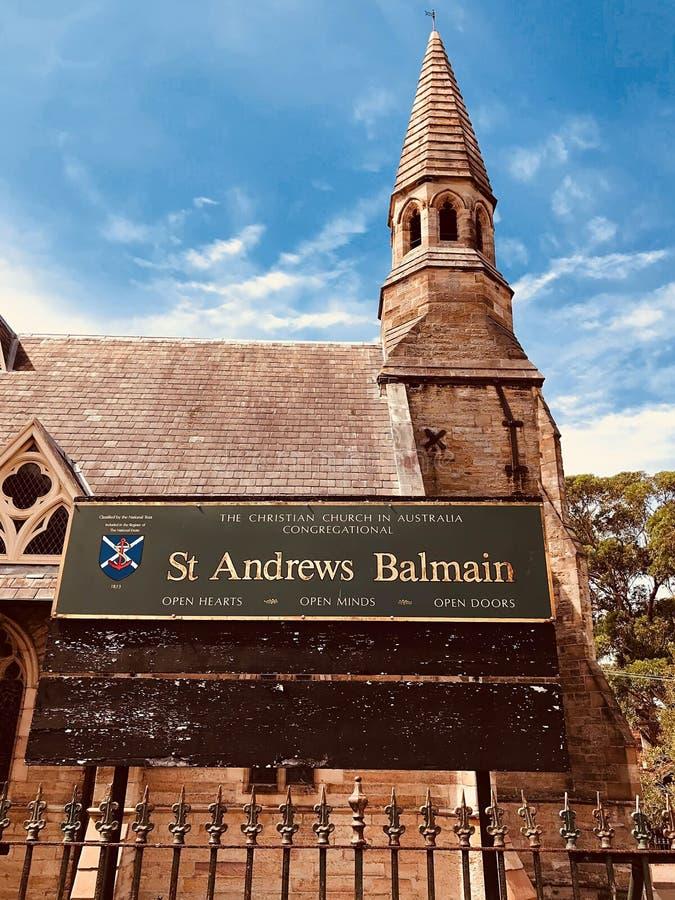 SYDNEY AUSTRALIEN - OKTOBER 3, 2018: Framdel av balmain sydney, New South Wales, Australien T för bedårande gata för St Andrews k royaltyfria foton