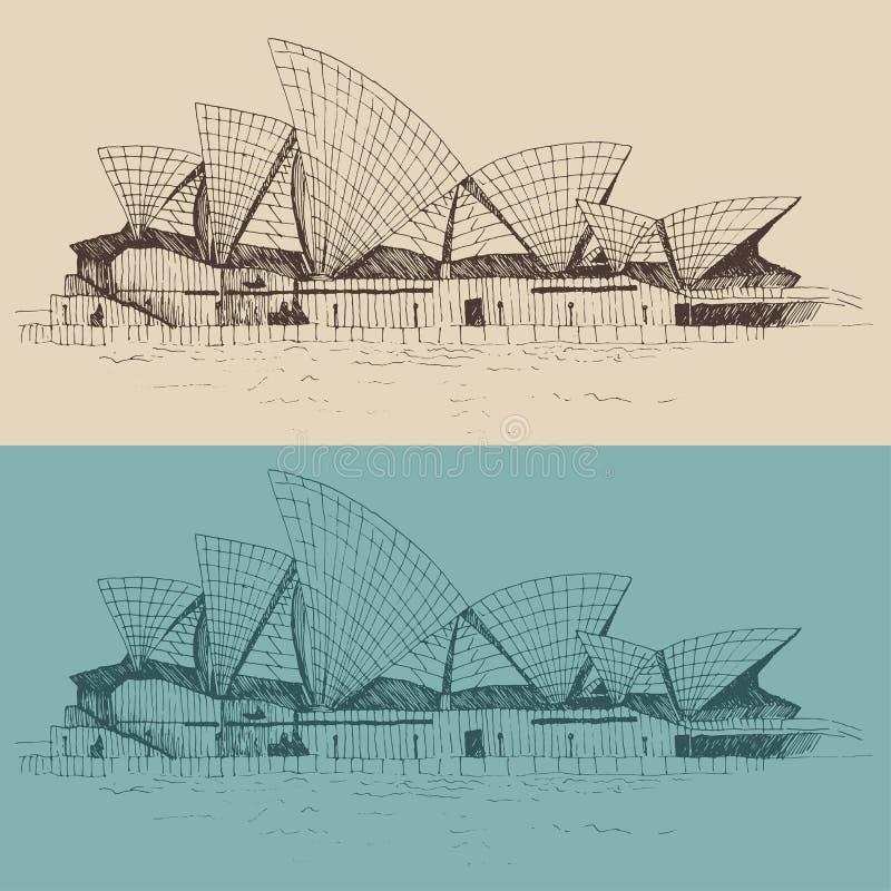 sydney Australien tappningillustration, inristad stil