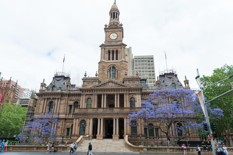SYDNEY, AUSTRLIA - 11 NOVEMBRE 2014: Sydney Town Hall fotografia stock libera da diritti