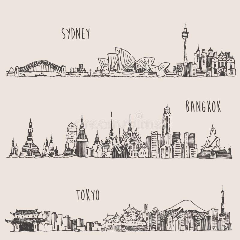 Sydney, Bangkok, Tokyo, Illustration, Hand Drawn. Sydney Bangkok Tokyo big city architecture vintage engraved illustration hand drawn sketch vector illustration