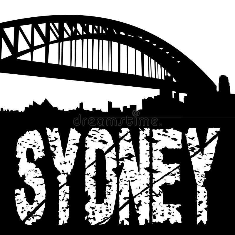 Sydney-Brücke mit grunge Text lizenzfreie abbildung