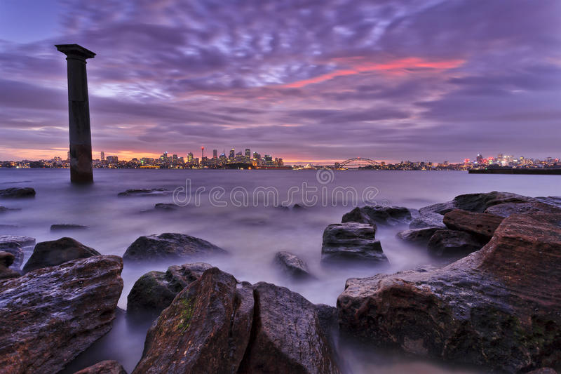 Sydney CBD Bradley COlumng Rocks royalty free stock image