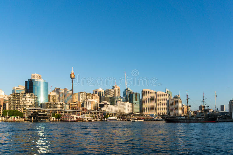 Sydney CBD city view of Darling Harbour and Sydney Tower royalty free stock images