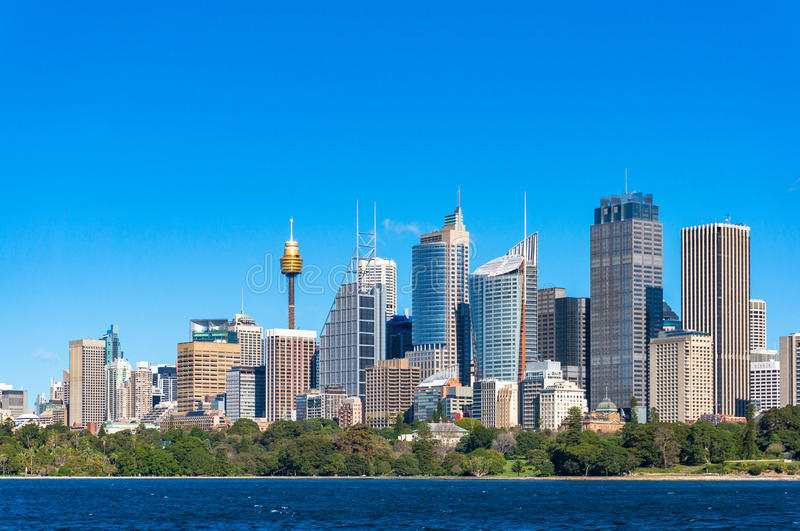 Sydney Central Business District cityscape. With Royal Botanic Garden and Sydney Harbour on foreground stock photos