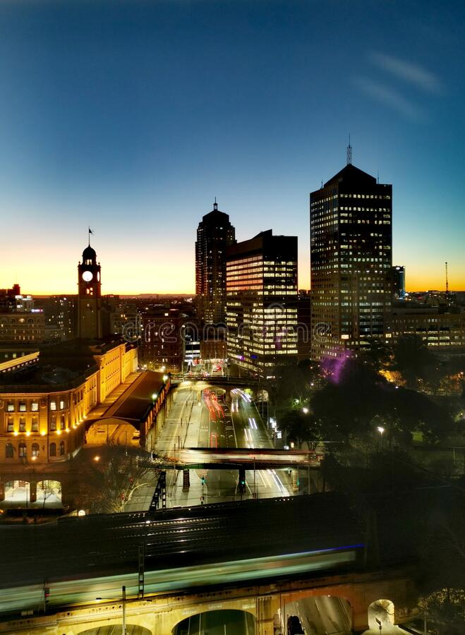 Sydney Central Station and CBD in the evening royalty free stock photos