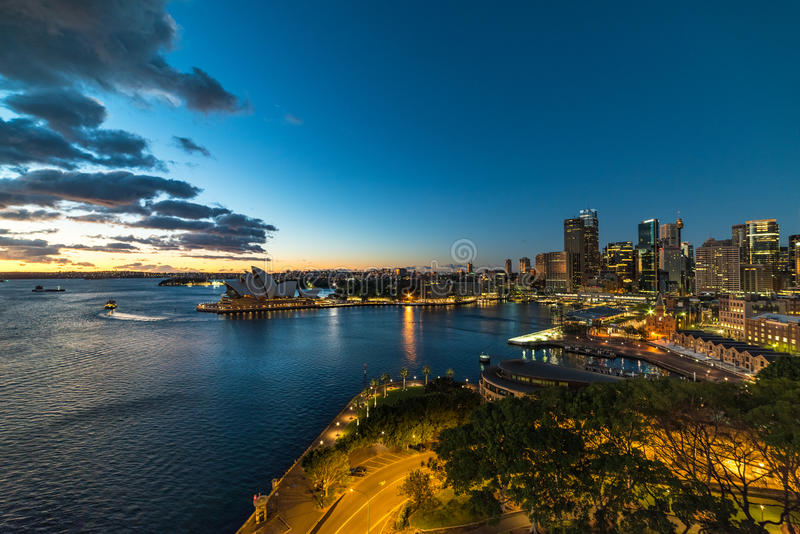Sydney Circular Quay and CBD night view royalty free stock photo