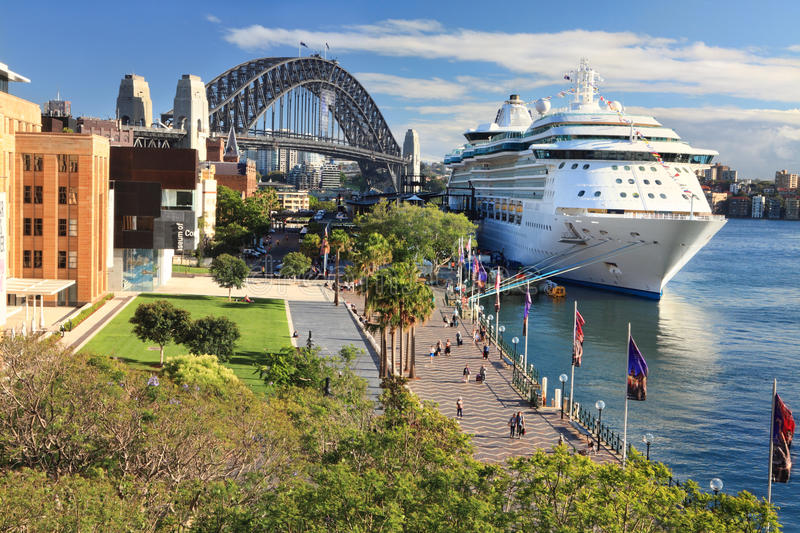 Sydney Circular Quay and Luxury Cruise Ship stock images