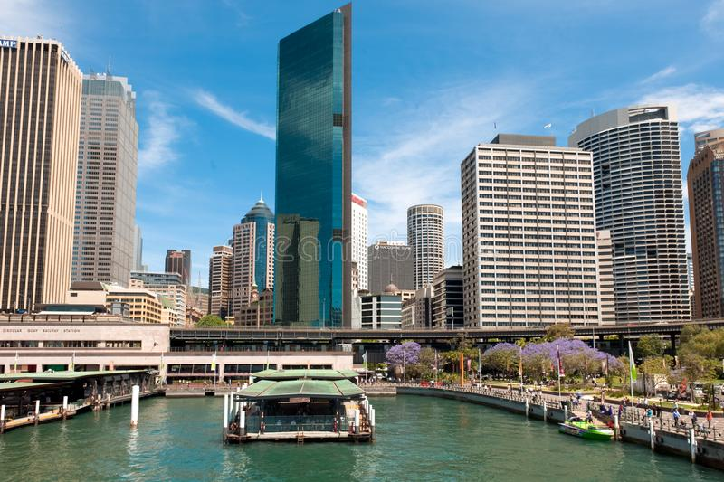 Sydney Circular Quay railway station in front of Central Business District. Sydney Circular Quay and railway Station in front of Central Business District stock photography
