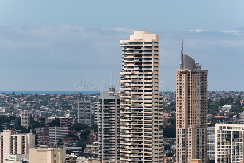 Sydney city and bay from height stock photos