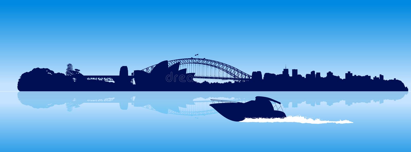 Sydney city detailed skyline with moving speedboat vector illustration