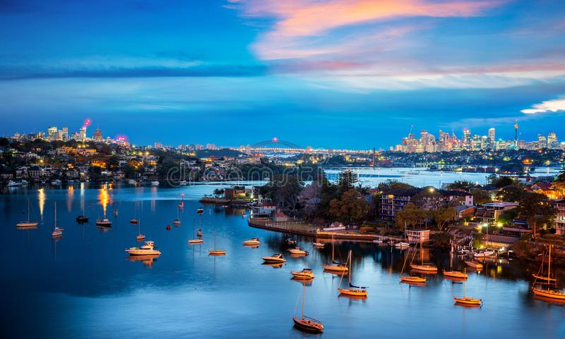 Sydney city on night time royalty free stock photography