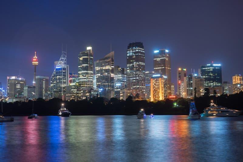 Sydney City Skyline nachts stockbild