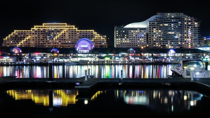 Sydney colorful Darling harbor pier night view royalty free stock photos