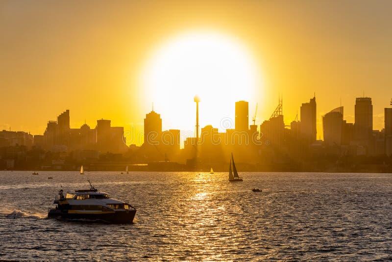 Sydney Down Town no por do sol foto de stock