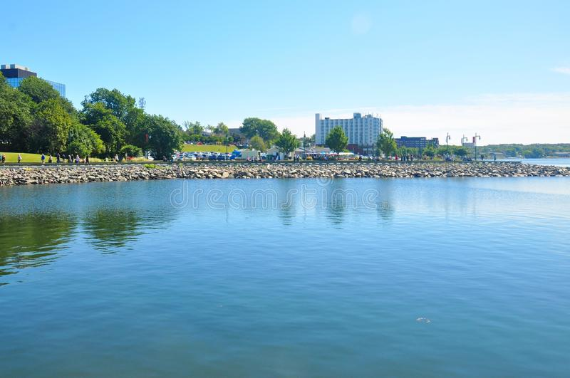 Port of Sydney, Nova Scotia, Canada. Sydney is a former city and current community located in the Cape Breton Regional Municipality of Cape Breton Island, Nova stock image