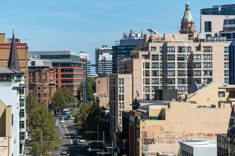 Sydney George Street city view from height royalty free stock images