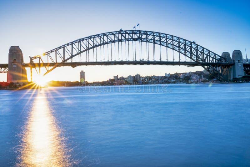 Sydney Harbor Bridge au coucher du soleil images stock