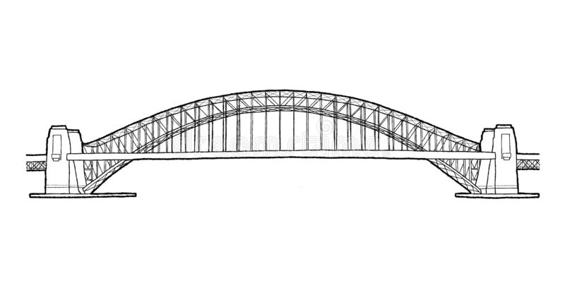Sydney Harbor Bridge, Sydney, Australie : Art tiré par la main de bande dessinée d'illustration de vecteur de point de repère illustration de vecteur