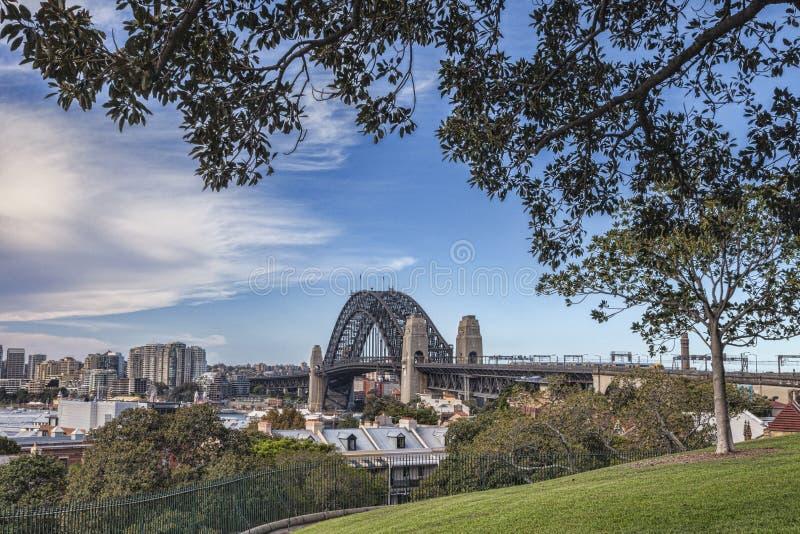 Sydney Harbor Bridge dalla collina dell'osservatorio fotografia stock