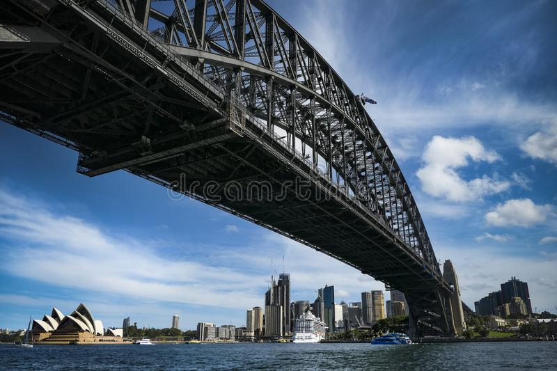 Sydney harbor bridge och opera house royaltyfria bilder