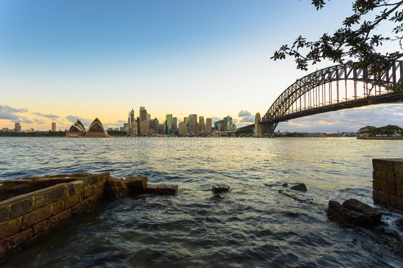 Sydney Harbor and cityscape. View of the Sydney Harbor and cityscape stock photos