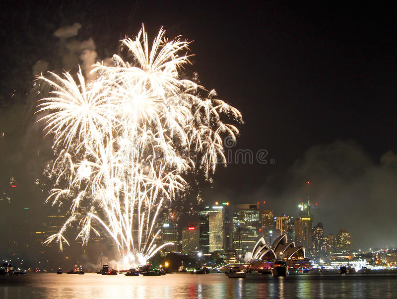 Sydney Harbor na véspera de anos novos foto de stock royalty free