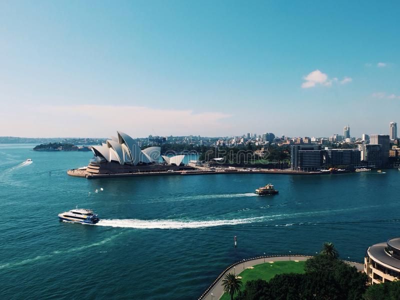 Sydney Harbour Australia-Sommerstadt operahouse Reise lizenzfreie stockfotos