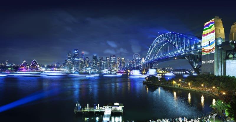 Sydney Harbour Bridge Australia Opera hus arkivfoto