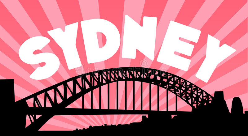 Sydney harbour bridge background vector illustration