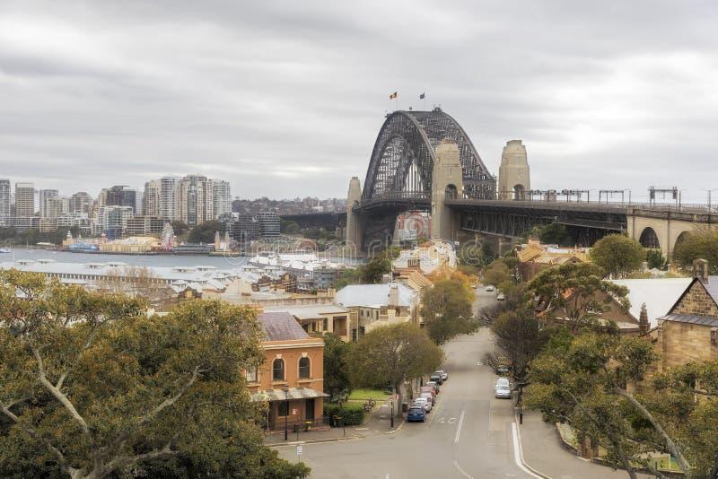 Sydney Harbour Bridge dalla collina dell'osservatorio, NSW Australia immagine stock
