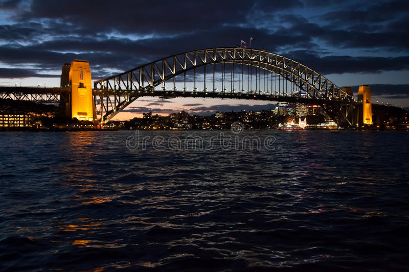 Sydney Harbour Bridge At Dusk Stock Photo