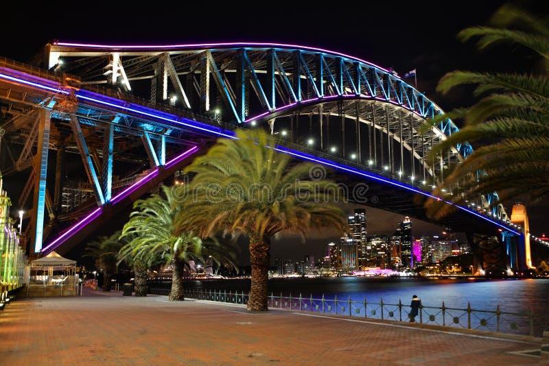 Sydney Harbour Bridge en bleu et aqua roses image libre de droits