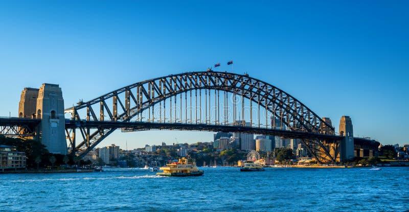 Sydney harbour bridge and ferries stock photos
