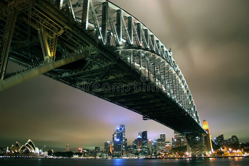 Sydney Harbour Bridge by night stock images