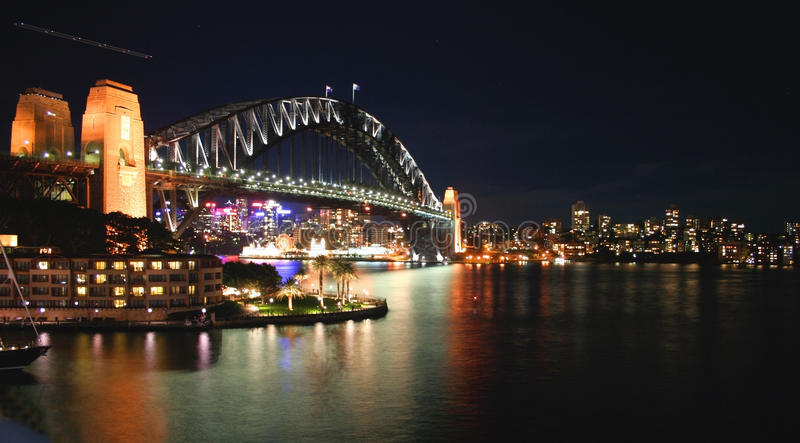 Sydney Harbour Bridge at night, Australia stock image