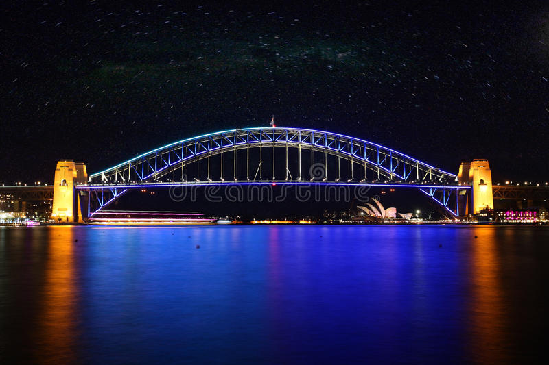 Sydney Harbour Bridge at Night, Australia royalty free stock image