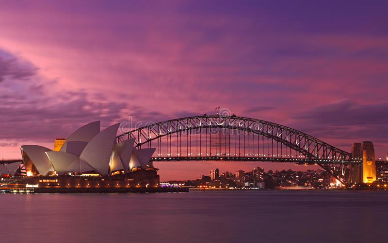 Sydney Harbour Bridge & Opera House royalty free stock photos