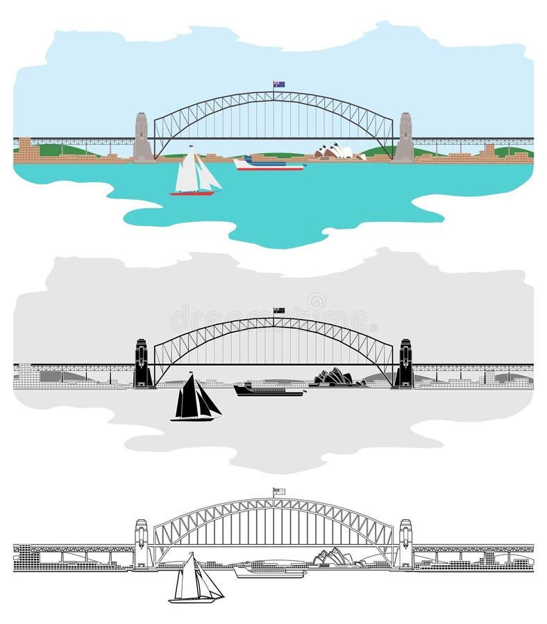 Sydney Harbour Bridge and others Australian symbols royalty free illustration