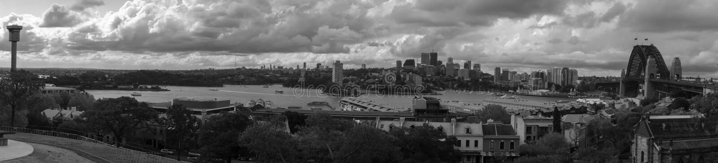 Sydney Harbour bridge Panorama black and white stock image