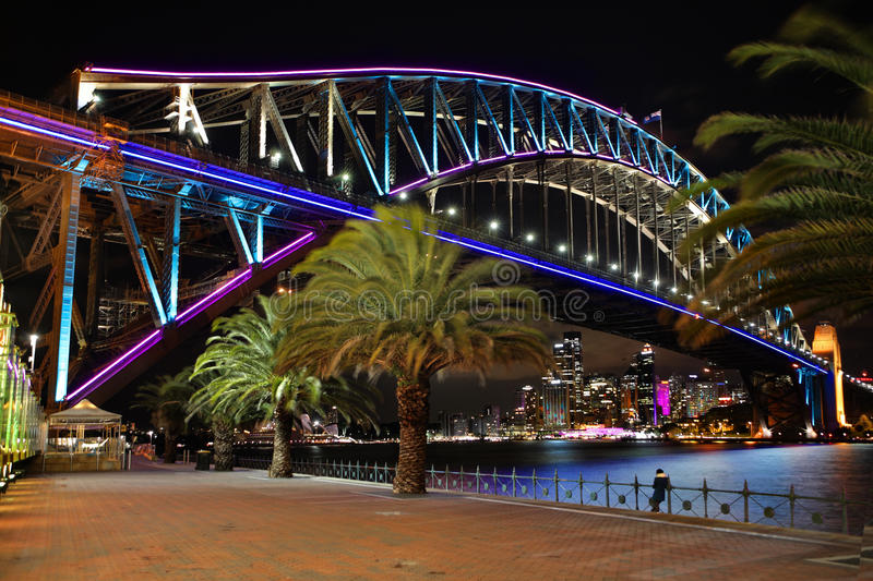 Sydney Harbour Bridge in pink blue and aqua royalty free stock image