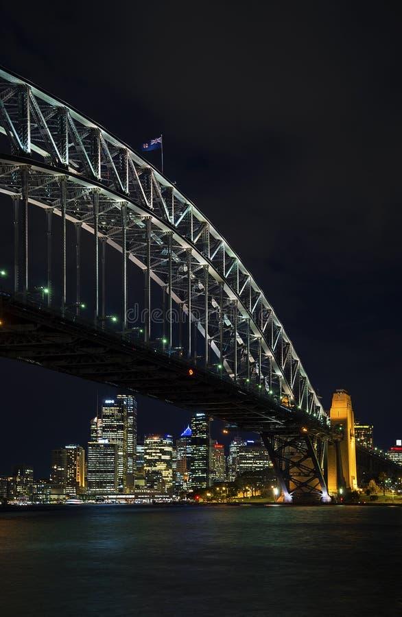 Sydney harbour bridge and skyline landmarks in australia at nigh royalty free stock photography