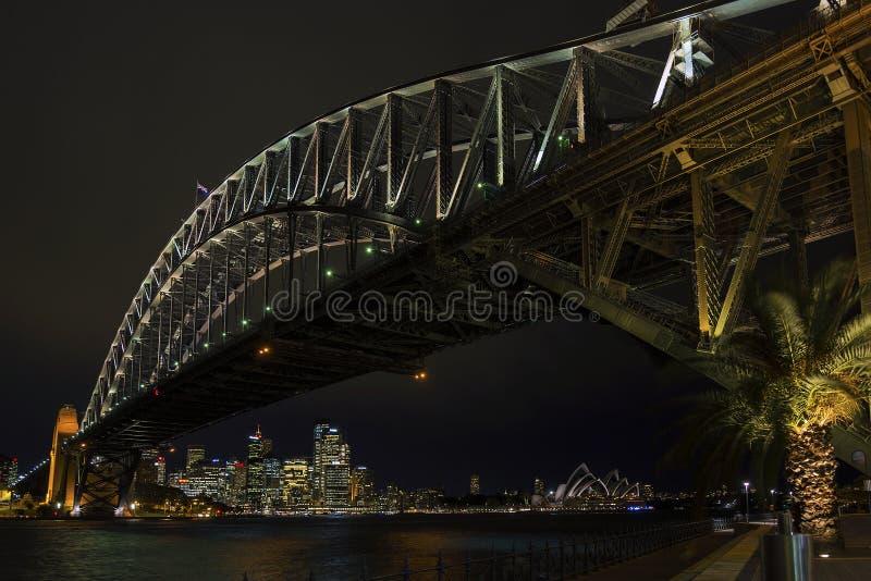 Sydney harbour bridge and skyline landmarks in australia at nigh royalty free stock photo