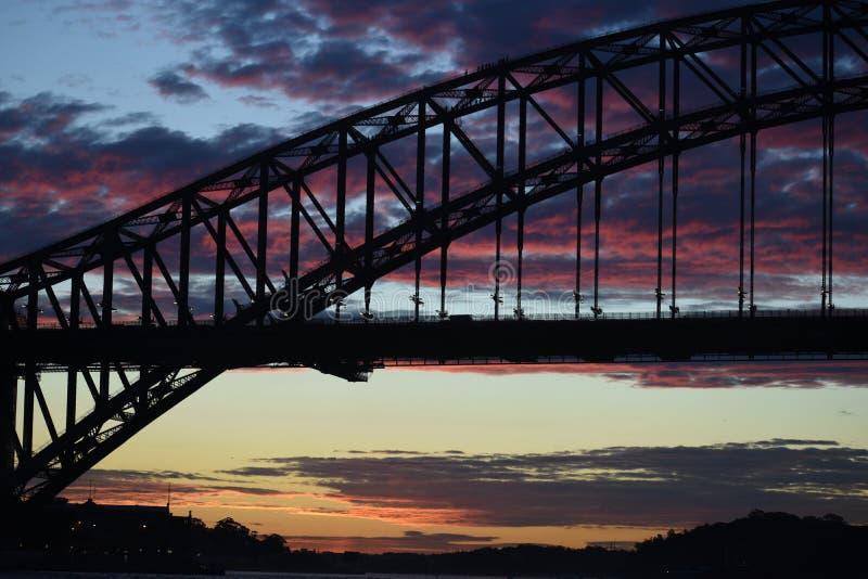 Sydney harbour bridge. Sunset, clouds, colourful, nature, natural, australia stock images