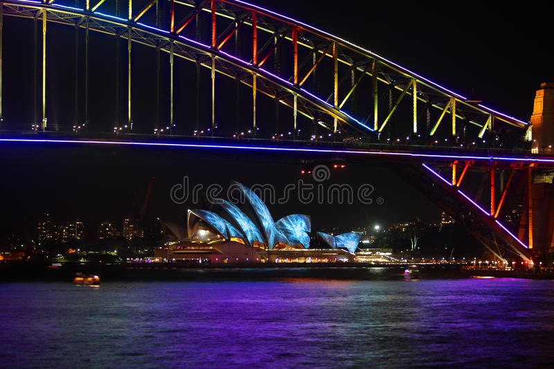 Sydney Harbour Bridge and Sydney Opera House duirng Vivid festival royalty free stock photo
